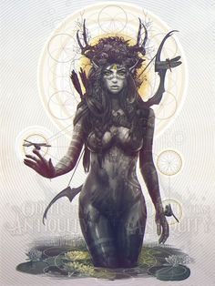 Elf Archer Forest Spirit Goddess Antler Female Nature Deity Sacred Geometry Original Illustration Portrait Poster Print - 4 Sizes Available