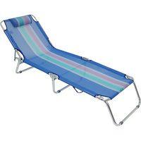 Cadeira Espreguiçadeira Mor com Estrutura de Alumínio - Azul - 4 Posições