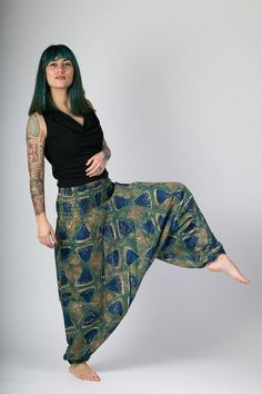 91717da28ce7 Blue Green Triangles Print Harem Cotton Yoga Afghan Festival Pants Jumpsuit  Elasticated