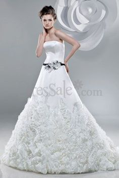 Princess Satin Organza Rosettes Motifs Bridal Wear
