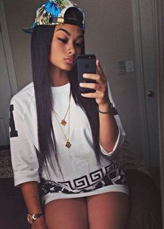 India Westbrooks Rocking Last Kings Tyga Versace Detail TShirt Patterned SnapBack Gold Double Chain Pretty Girl Swag Urban Streetwear Fashion Style Trend