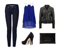 Un outfit para una noche casual, en un bar, un restaurante o para un date utilizando el azul de temporada.