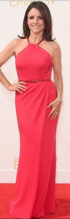 Julia Louis-Dreyfus: Dress – Carolina Herrera  Purse – Lee Savage  Jewelry – Lorraine Schwartz  Shoes – Salvatore Ferragamo