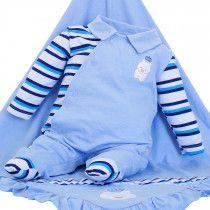 1d98a194a7ed2 Saída de Maternidade Mydouu Ursinho Luvas e Boné Azul Céu