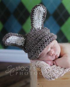 Crochet Baby Hat Newborn Bunny Hat Infant Rabbit Cap Baby Photo Prop Brown Wheat. $25.00, via Etsy.