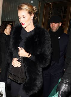Newly Engaged Rosie Huntington-Whiteley and Jason Statham Step Out in Style in London from InStyle.com