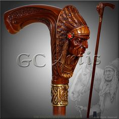 "INDIAN CHIEF BROWN designers walking stick cane authors di GCArtis----da""Bastoni""diⓛⓤⓐⓝⓐ"
