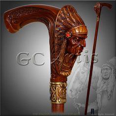 "INDIAN CHIEF BROWN designers walking stick cane authors di GCArtis----da""Bastoni""diⓛⓤⓐⓝⓐ"