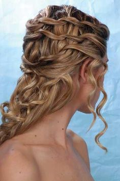 Braided Updo Hairstyles | cute chain link braided half updo hairstyle with spiral curls for ...