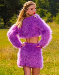 7d7838d5d8b Purple hand knitted fuzzy mohair sweater and skirt sexy fluffy cropped set  SALE  SUPERTANYA
