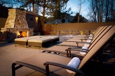 Gant fireplace & hot tub area - image by Ric Stovall
