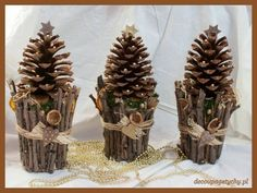 40 Easy and Cute DIY Pine Cone Christmas Crafts holiday homemade pinecone xmas ornaments 29