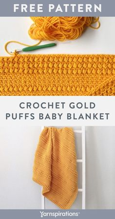 Free Gold Puffs Baby Blanket crochet pattern using Red Heart Super Saver yarn. This free crochet baby blanket pattern is an easy way to practice your moss and puff stitches, plus an opportunity to give a sentimental hand-made gift to a little loved one. Finish off the blanket with a border in front and back post double crochets. #Yarnspirations #FreeCrochetPattern #BabyBlanket #PuffStitch #RedHeartYarn #RedHeartSuperSaver Afghan Patterns, Crochet Blanket Patterns, Baby Blanket Crochet, Crochet Baby, Crochet Blankets, Knit Or Crochet, Free Crochet, Back Post Double Crochet, Super Saver