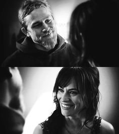 Maggie Siff//Tara and Charlie Hunnam//Jax Sons Of Anarchy Samcro, Sons Of Anarchy Tara, Beautiful Men, Beautiful People, Maggie Siff, Outlaws Motorcycle Club, Charlie Hunnam Soa, Jax Teller, Great Love Stories
