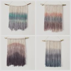 CUSTOM - Dip Dyed Yarn Tapestry - Boho Tapestry - Boho Decor - Dyed Yarn Wall Hanging - Wall Decor - Fiber Art - Size: Small by InspiredSoulShop on Etsy