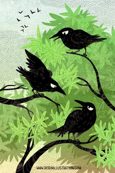 Summer Crows 12x18 art poster by theGorgonist on Etsy