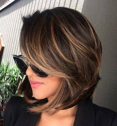 Short bob hairstyles, short volumn hairstyles,haircuts ,Brunette Bob Haircuts,Brown Balayage Bob With Side Bangs Chocolate Brown Hair Color, Brown Hair Colors, Hair Color For Tan Skin Tone, Brown Hair For Tan Skin, Hair With Color, Short Hair Colour, Chocolate Highlights, Chocolate Hair, Chocolate Cherry
