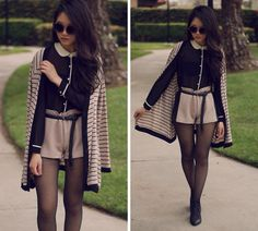 Adorable outfit - chic shorts with side piping.