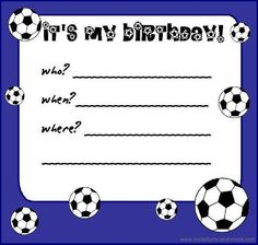 Free printable soccer birthday party invitations from free printable birthday invitations a baby declaration or birth announcement is a mark traditionally transmitted to acquaintances filmwisefo Choice Image