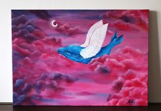 The flying whale, acrylic painting on canvas 50x70cm  ©Billy Acrylic Painting Canvas, Whale, Art, Art Background, Whales, Kunst, Performing Arts, Art Education Resources, Artworks