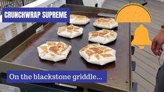 Crunchwrap Supreme on the Blackstone Griddle, Grilling Recipes Outdoor Griddle Recipes, Outdoor Cooking Recipes, Grilling Recipes, Grilling Ideas, Flat Top Griddle, Griddle Grill, Stones Recipe, Blackstone Grill, Crunchwrap Supreme