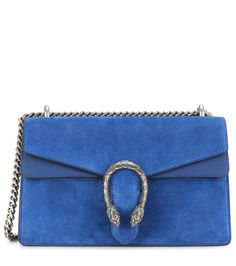 Gucci - Dionysus Small suede and leather shoulder bag - Crafted from oh-so soft rich blue suede, the Dionysus Small shoulder bag from Gucci…