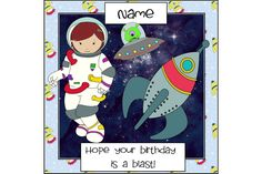 Your place to buy and sell all things handmade Girl Birthday Cards, It's Your Birthday, Colors For Skin Tone, Cellophane Bags, Unique Cards, Kids Cards, Outer Space, Solar System, I Am Happy
