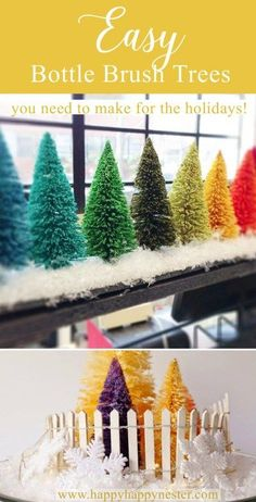 Learn more about the Rainbow Christmas Tree How to Make Bottle Brush Holiday Trees - Happy Happy Nester Tree Crafts, Christmas Projects, Holiday Crafts, Diy Crafts, Holiday Decor, Decoration Crafts, Winter Christmas, Vintage Christmas, Christmas Holidays