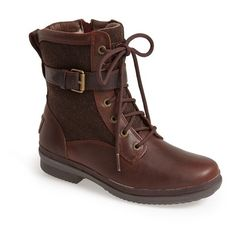 Women's Ugg Kesey Waterproof Boot (3.648.935 VND) ❤ liked on Polyvore featuring shoes, boots, ankle booties, chestnut, leather ankle boots, waterproof boots, leather booties, combat boots and waterproof leather boots