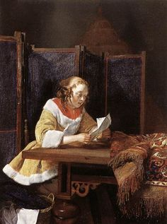 A Lady Reading A Letter Artwork By Gerard Ter Borch The Younger Oil Painting & Art Prints On Canvas For Sale Munier, Baroque Painting, Canvas Letters, Dutch Golden Age, Dutch Painters, European Paintings, Art Uk, Hieronymus Bosch, Illustrations