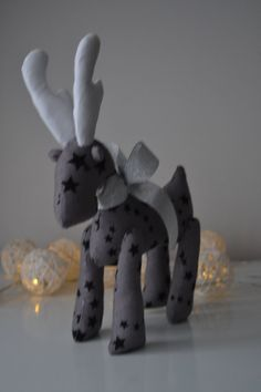 Reindeer doll, Christmas gift, Christmas stuffed reindeer, grey fabric with black stars by annascraft1 on Etsy