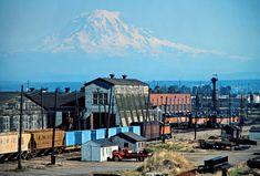 MILW, Tacoma, Washington, 1978 Milwaukee Road yard in Tacoma, Washington, with Mt. Rainier in the background on August 5, 1978. Photograph by John F. Bjorklund, © 2016, Center for Railroad Photography and Art. Bjorklund-66-28-13