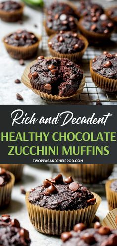 Healthy Muffin Recipes, Healthy Dessert Recipes, Healthy Baking, Baking Recipes, Delicious Desserts, Snack Recipes, Healthy Meals, Double Chocolate Zucchini Muffins, Healthy Chocolate Muffins