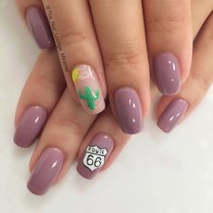 Mauve Route 66 desert road trip nail art design