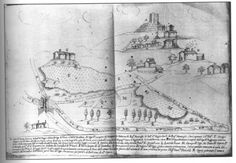 Mediaeval Italian manuscript depicting the Castle of Tentennano on the Via Francigena.