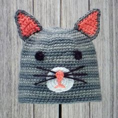 "CAT ❤ Crocheted Animal Hat for Babies and Children ❤ Pattern in ""Amigurumi Animal Hats"" by Linda Wright. http://amazon.com/dp/098009237X/"