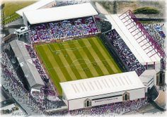 Painting of Oakwell, home of Barnsley Football Club; currently in the English Championship. Location: South Yorkshire; ground capacity: 23,009.