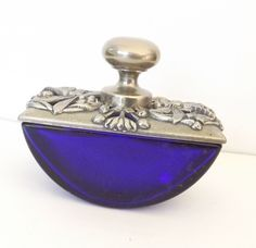 Vintage Perfume Bottle - Cobalt Blue Glass -  Could just display or fill w/ something and use.