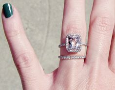 Oh my goodness I am in LOVE. If my ring isn't diamond, this is TOTALLY what I want. Obsessed with Morganite now. Engagement ring with pink stone pave diamonds