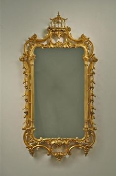 Carvers' Guild Grand Pagoda Chippendale Mirror in Antique Gold Leaf