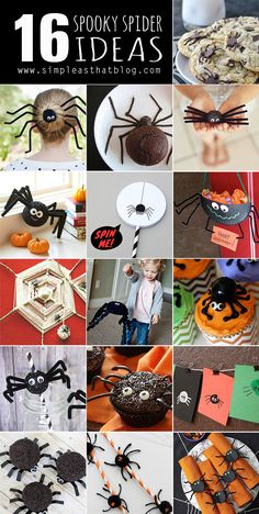 I normally detest spiders, but I have to admit that Halloween just wouldn't be Halloween without these creepy crawly creatures. It seems like a few spiders always make their way into our Halloween festivities each year, whether it's spider themed treats, craft ideas or decor. Today I've rounded up 16 of my favourite spooky spider …