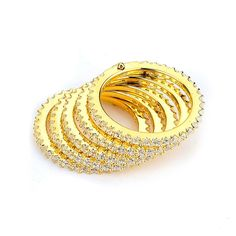 5 Stacked Rows of Cubic Zirconia Eternity Bands (14K Yellow Gold) – CZ Sparkle Jewelry®