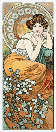 Scarlet Quince - Topaz - Alphonse Mucha  A lady representing topazes. She is wearing a topaz-colored gown and topaz bracelets. Her chair is inlaid with topazes and she is leaning on the arm which is a partly covered carving of a human head. At her feet are sprays of seed pods from the honesty plant. The background (white section between the design elements) is not stitched. White fabric is recommended. (Art Deco, 1900)  201w x 493h stitches