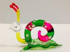 Figurine Animal Miniature Hand Blown Glass Reptile Snail.