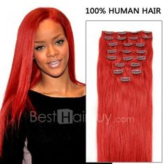 18 Inch 7pcs Charming Red Clip In Remy Straight Hair Extensions 70g