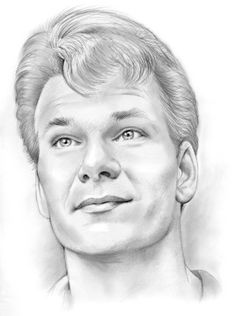 Realistic Pencil Drawings, Dark Drawings, Art Drawings Sketches, Celebrity Caricatures, Celebrity Drawings, Portrait Sketches, Pencil Portrait, Celebrities With Cats, Patrick Swayze