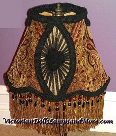 Victorian Lamp Shade in gold and black with by victoriandollslamps, $140.00