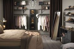 New bedroom closet curtains ideas Interior, Home, Open Closet, Home Bedroom, Closet Curtains, Wardrobe Organisation, Interior Design, No Closet Solutions, Bedroom