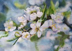 """Рисуем акварелью: """"Веточка цветущей яблони"""""""