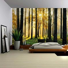 Startonight 3D Mural Wall Art Photo Decor Waterfall in the Forest Amazing Dual View Surprise Large 32.28 inch By 59.06 inch Wall Mural Wallpaper for Living Room or Bedroom Landscape Collection